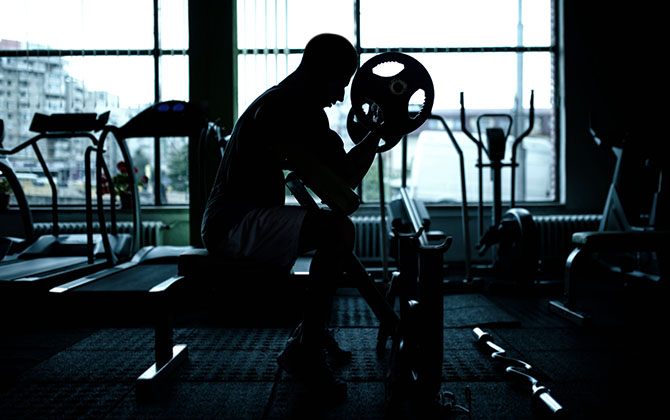 Bald man gym